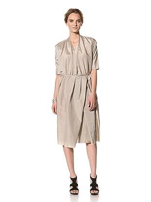 MARNI Women's Short Sleeve V Neck Cross Pleat Dress (Grey)