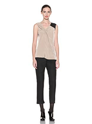 Poleci Women's Asymmetric Top with Leather Shoulder Strap (Nude/black)