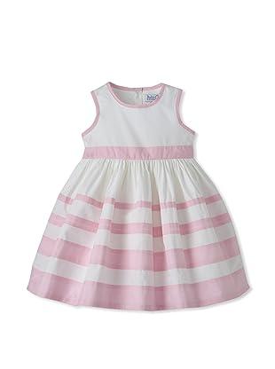 Baby CZ Girl's Sleeveless Striped Dress (White/Pink)