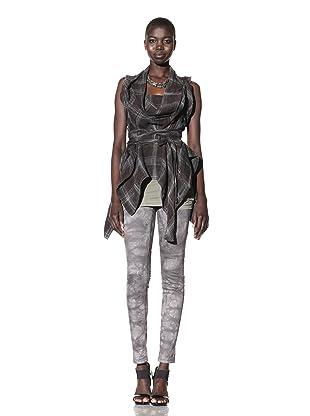 L.A.M.B. Women's Plaid Linen Tunic (Chocolate Brown)