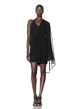 L.A.M.B. Women's Asymmetrical Knit Cape Dress (Black)
