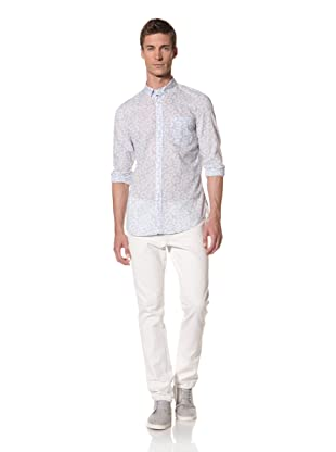 French Connection Men's Pinking Floral Long Sleeve Shirt (Mile High Blue)