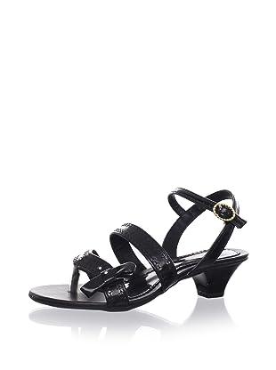 Pampili Kid's Sequined Kitten Heel Sandal (Black)