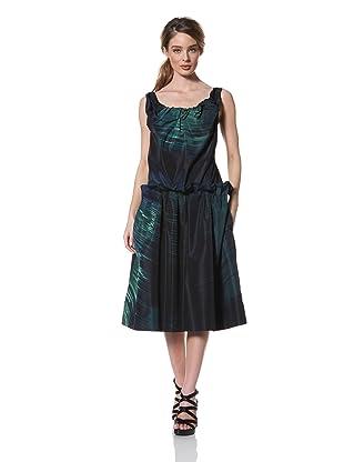 MARNI Women's Abstract Print Gathered Tank Dress (Dark Green)