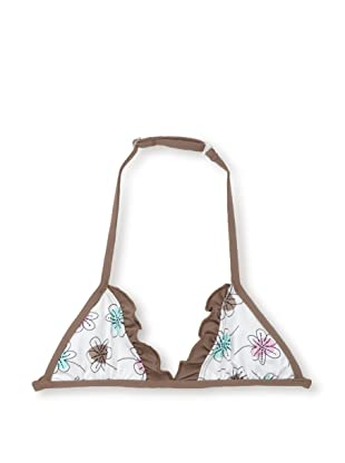 Les UltraViolettes Girl's Bonbon Triangle Swim Top (Imprime Blanc)