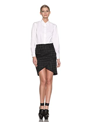 Costume National Women's Houndstooth Tulip Skirt (Black)