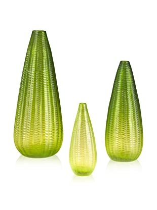 John-Richard Collection Set of 3 Hand-Blown Green Glass Vases