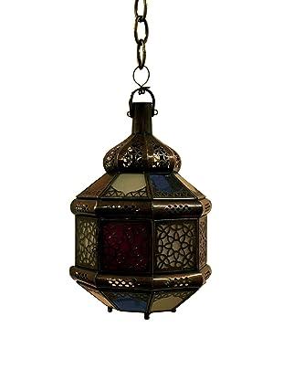 Badia Glass Candle Lantern, Blue/Amber/White