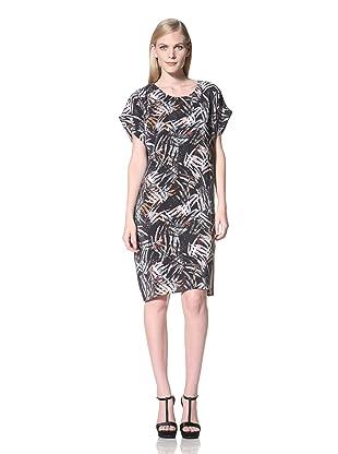 MEGAN PARK Women's Palm Printed Short Sleeve Shirt Dress (Coral Palm Print)