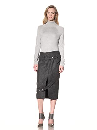 ALTUZARRA Women's Wool Skirt with Foldover Waist (Grey)