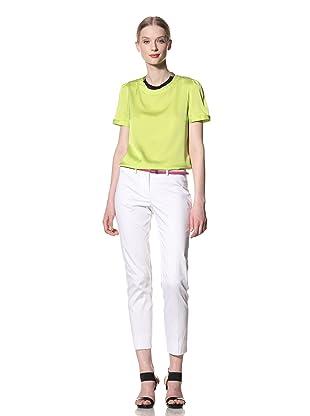 Pink Tartan Women's Silk Blouse (Acid Green)