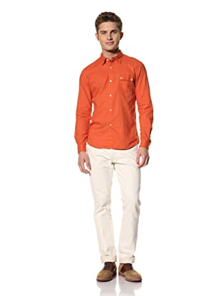 Creep by Hiroshi Awai Men's Long Sleeve Camp Shirt (Brick Orange)
