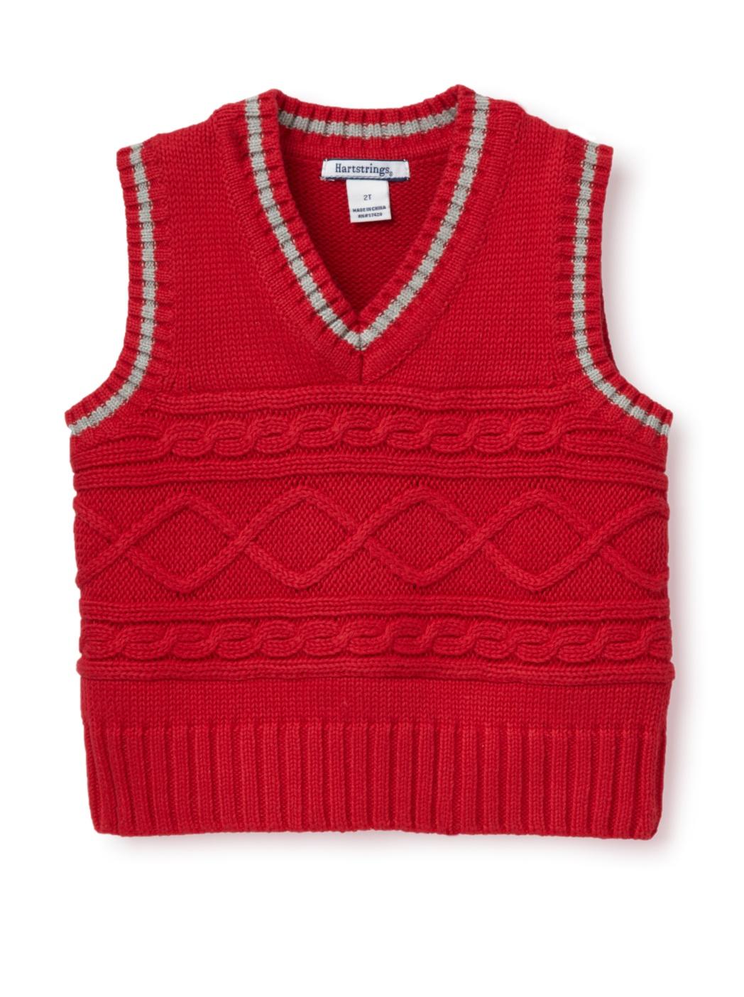 Hartstrings Boy's Family Portrait Sweater Vest (Toddler/Little Boy) (Red)