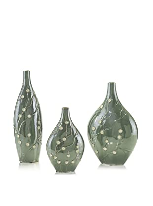 John-Richard Collection Set of 3 Glazed Aqua Vases with Hand-Applied Floral Accents