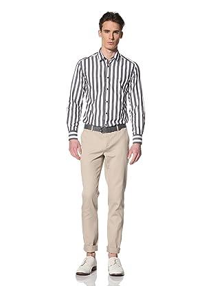 Brent Wilson The Basics Men's Double Pocket Shirt (Black/White Butchers Stripe)