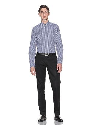 Toscano Men's Checkered Button-Up Shirt (Nautical)