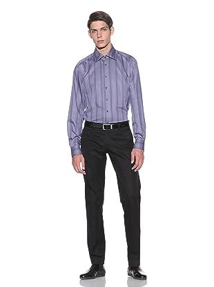 Toscano Men's Long Sleeve Striped Shirt (Blue)