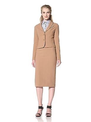 L.A.M.B. Women's Double Crepe Cropped Jacket (Camel)