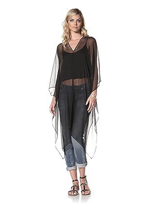 +Beryll Women's Silk Poncho (Black)