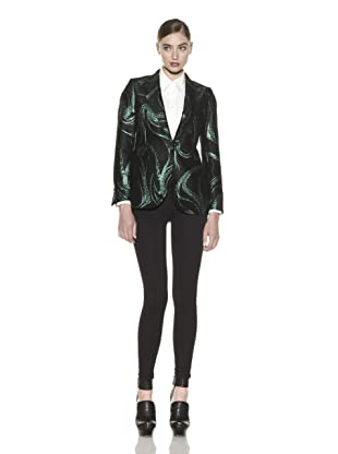 Costume National Women's Metallic Jacquard Jacket (Fantasy Green/Black)