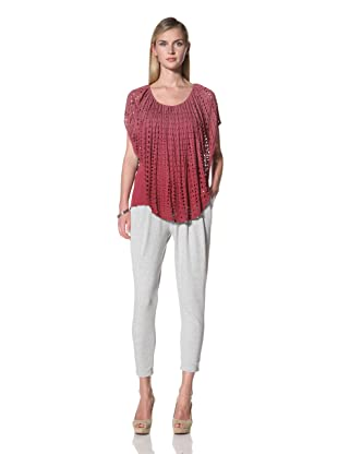 Poleci Women's Double Layer Perforated Top (Crimson)