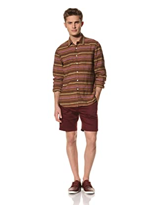 Creep by Hiroshi Awai Men's Long Sleeve Point Collar Linen Shirt (Brown Stripe)