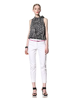 Pink Tartan Women's Straight Leg Pant (White)
