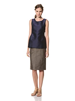 MARNI Women's Solid Round Neck Top with Back V (Blue)