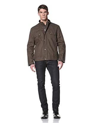 Andrew Marc Men's Palermo Stand Collar Moto Jacket with Leather Trim (Olive)