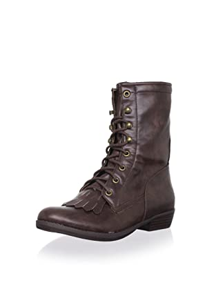 Farylrobin Women's Rodeo Lace-Up Flat Boot (Brown)