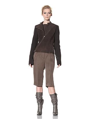 Haider Ackermann Women's Zip-Up Leather Jacket (Chocolate)