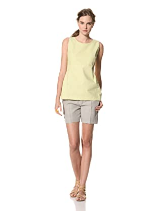 MARNI Women's Solid Round Neck Top with Back V (Light Lime Green)