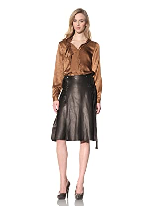 ALTUZARRA Women's Leather Skirt with Side Pleats (Black)
