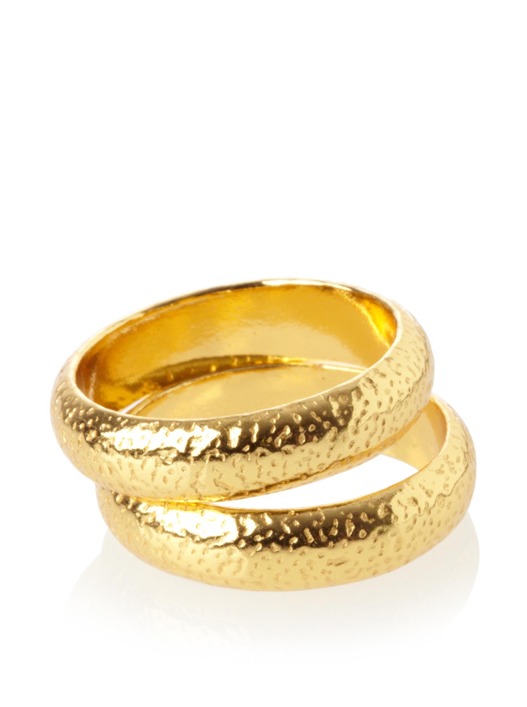 gorjana Set of 2 Hammered Rings, Gold, Size 7