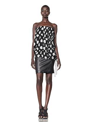 L.A.M.B. Women's Dot Print Bustier (Black/ivory)