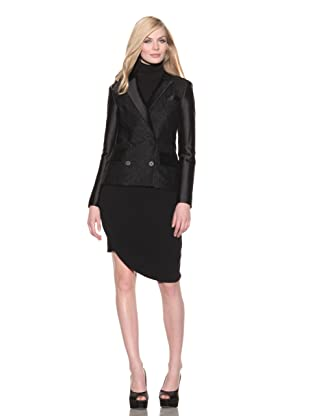 Christian Siriano Women's Double-Breasted Tweed Blazer (Black)