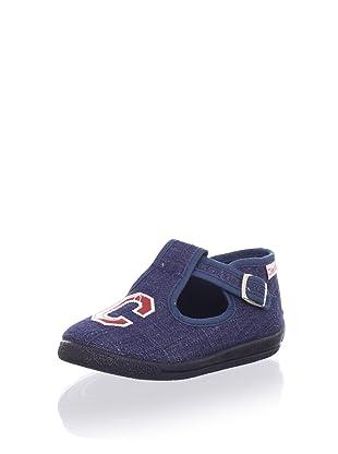 Cienta Kids T-Strap Embroidered Sneaker (Denim)