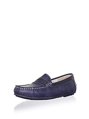 W.A.G. Kid's Textured Moc Loafer (Navy)