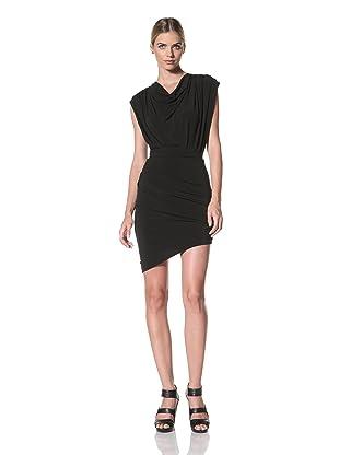 FACTORY by Erik Hart Women's Cowl Neck Dress with Asymmetrical Hem (Onyx)
