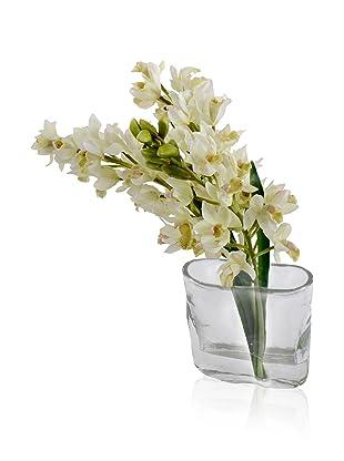 New Growth Designs Faux Cymbidium Orchid Sprays in Envelope Vase, White