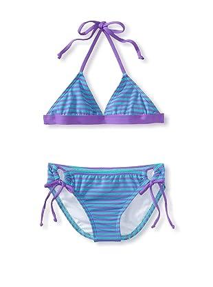 Splendid Girl's Malibu Stripe Triangle Top/Tunnel Pant Swimsuit (Teal)