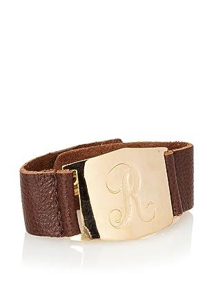 Lisa Stewart Gold R Initial Cuff Bracelet