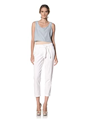 Kenneth Cole Women's Cropped Paper Bag Waist Pant (White)