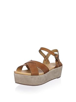 Bass Women's Ophelia Cross Front Flatform Sandal (Whiskey/Suede)