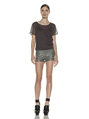Costume National Women's Leather Shorts (Grey)