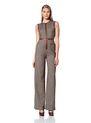 MARTIN GRANT Women's Leather Trim Jumpsuit (Chocolate)