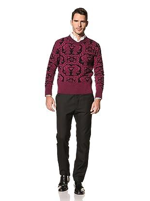 Vivienne Westwood Men's Eagle V-Neck Sweater (Fucshia/Black)
