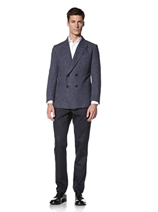 E.Tautz Men's Double-Breasted Blazer (Blue)