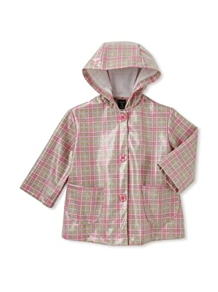 Mack & Co Girl's Hooded Raincoat (Brown/Pink Plaid)