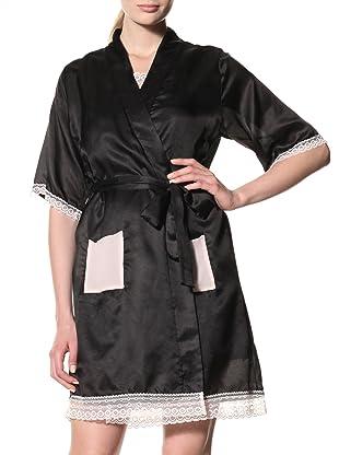 Toute la Nuit Women's Short Robe (Black/Blush)